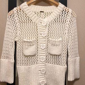 Free People Crochet Cardigan, Ivory